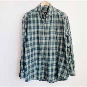 100% cotton woolrich plaid flannel buttonup (mens)